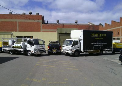 Haretch's mobile workshop parked outside the physical factory - workshop