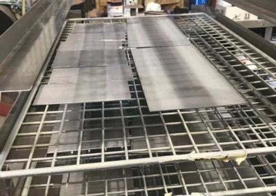 This photo shows a different perspective of the sections of material that Hartech have been undertaking testing on. For a new type of surface coating developed at Adelaide university.