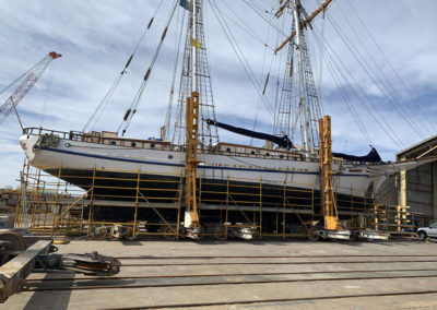 The restoration of the hull of the One and All Tall ship Is one of the abrasive blasting and painting jobs that Hartech is most proud of.