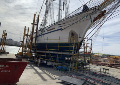 The One and All Tall ship being move into slippage so the abrasive blasting can begin