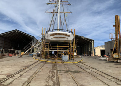 The One and All Tall ship in slippage with scaffolding in place so the abrasive blasting can begin
