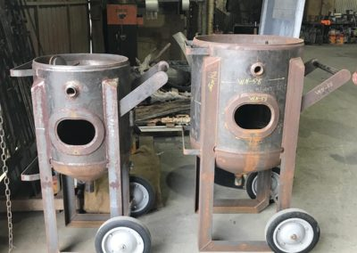 Pressure vessels which have been abrasive blasted and powder coated